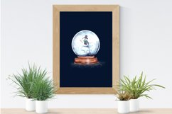 Christmas Snow Globe Snowman Sublimation Watercolor set Product Image 5