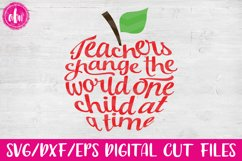 Teachers Change the World Apple - SVG, DXF, EPS Cut File Product Image 1