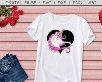Black and Blush Pink Glitter Unicorn - svg, png, dxf, jpg Product Image 2