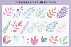20 Watercolor Stamp Brushes for Procreate, Floral stamps Product Image 4