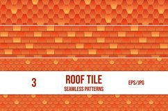 Set of 3 vector seamless pattern of red roof tile. Product Image 1