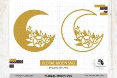 Floral Moon SVG Crescent Moon SVG Half Moon Paper Cut Boho Product Image 1