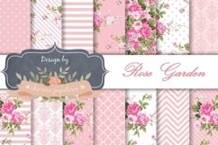 Pink floral Digital Paper Wedding Background Rose and white Product Image 1