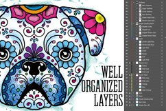 Puppy Calavera Tattoo Style Vector Product Image 7