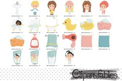 BATH and SHOWER clipart, Cute kids grooming art - INSTANT Product Image 2