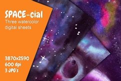 Space Poster. Three Watercolor Backgrounds Product Image 1