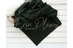 Blanket Mockup Green  Fleece Blanket Mock Up Stock Photo Product Image 1