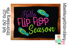 Hello Flip Flop Season Embroidery   Embroidery Design File Product Image 1