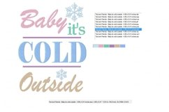 Baby It's Cold Outside Machine Embroidery Design 2 sizes Product Image 2