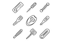 Thermometer icon set, outline style Product Image 1