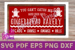 Christmas Gingerbread man Bakery sign farmhouse style svg cutting files for cricut  sihouette, DIY sign stencil Product Image 1