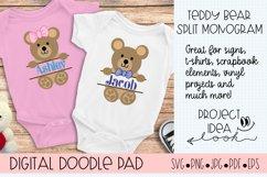 Teddy Bear SVG Split Monogram | Silhouette & Cricut Cut File Product Image 3