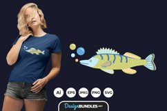 Folk Art Fishes for T-Shirt Design Product Image 1