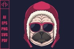 Pug dog head eyeglasses vector illustration Product Image 1