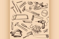 Joinery icons set. Carpenter character at work. Product Image 1