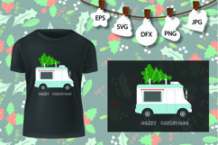 Truck tree retro vintage winter holiday svg Product Image 2