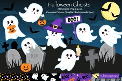 Halloween clipart, Ghost graphics & illustrations C48 Product Image 1