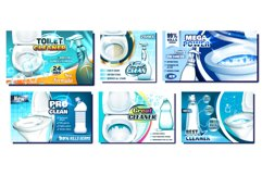 Toilet Cleaner Promo Advertise Posters Set Vector Product Image 1
