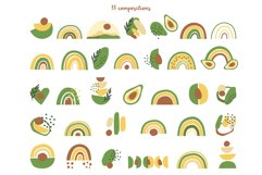 Avocados and Rainbows Clipart, Abstract Shapes, EPS, PNG Product Image 3
