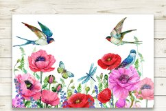 Red Poppies, flowers Clipart, Bird, Butterfly, Product Image 3