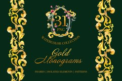 Gold super Monograms Watercolor png Product Image 1