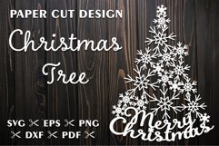 Christmas Tree SVG with Snowflakes for Silhouette and Cricut Product Image 1