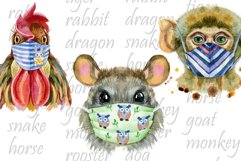 Watercolor animals in protective mask Product Image 4