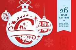 Christmas Split Letters - Christmas Ornament SVG - Monogram Product Image 1