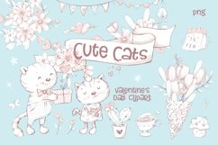 Valentines Day Clipart Cute Cat Product Image 3