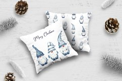 Watercolor Scandinavian navy blue gnome clipart Product Image 5