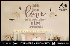 Faith Hope Love SVG & Printable, Bible, 1 Corinthians 13-13 Product Image 3