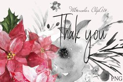 "Christmas watercolor clipart""CHRISTMAS FLORAL"" Product Image 5"