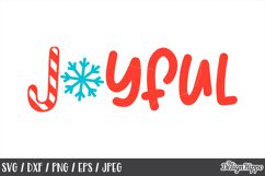 Kids Christmas, SVG, Joyful, Snowflake, Candy Cane, PNG, DXF Product Image 1