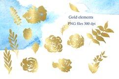 Blue Watercolor Flowers Clipart, Winter Floral Clip Art Product Image 6