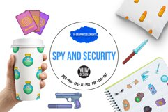 Spy and security icons set, cartoon style Product Image 1