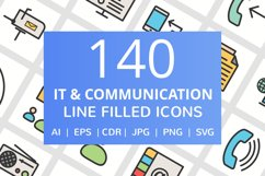 140 IT & Communication Filled Line Icons Product Image 1