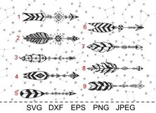Set of arrows with feathers. Boho style. SVG cut files. DXF. Product Image 3