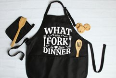What The Fork Is For Dinner SVG, Kitchen Apron SVG cut files Product Image 1
