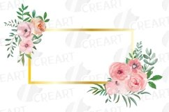 Blush watercolor floral wedding clip art, pink flowers leafs Product Image 7