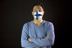Man in medical mask. Isolated. Coronavirus in Europe Product Image 1
