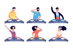 Dj characters. People with headphones and turntable mixer ma Product Image 1