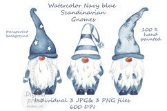 Watercolor Scandinavian navy blue gnome clipart Product Image 1