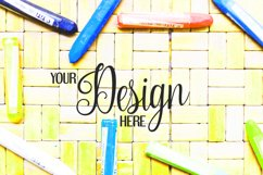 Crayons on rattan background | Flat photo mock up bundle Product Image 5