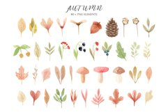 Watercolor Autumn Clipart Collection. Cozy patterns Product Image 3