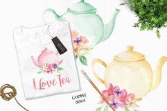 Watercolor Teapots Clipart Bouquets Flowers  Wonderland Florals  Tea Product Image 4