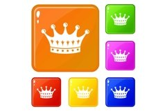 Crown icons set vector color Product Image 1