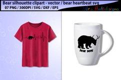bear svg silhouette vector / mama bear svg / bear heartbeat Product Image 2