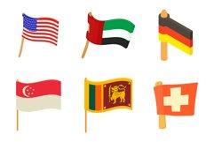 Country flag icon set, cartoon style Product Image 1