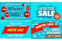 Winter sale banner set, flat style Product Image 1