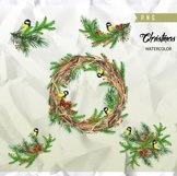 Christmas Birds Tit. Watercolor Bouquets and Wreaths, Merry Product Image 3
